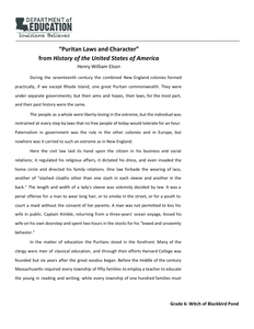 """Puritan Laws and Character"""" by Henry William Elson 