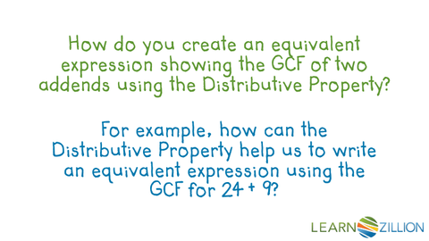 Find the GCF of two numbers using the distributive property