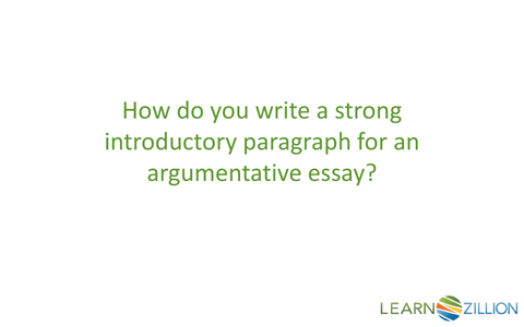 Write An Introductory Paragraph For Argumentative Essay