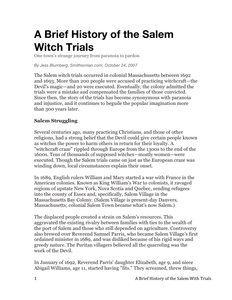 day  a brief history of the salem witch trials  learnzillion before the lesson